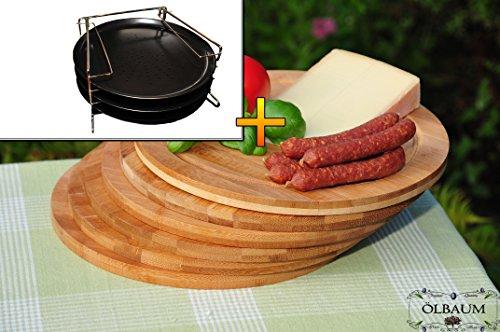 XXL Picknick-Set / Holzbretter drei runde Pizzableche TRADITIONELL und 4 stufiger Edelstahl-Pizzablechhalter, Blechboden gelocht, ca. 33 cm x 1 mm & 6 Stück Schneidebrett - massive, hochwertige ca. 12 mm starke Picknick-Grill-Holzbretter mit Rillung natur, dunkles Bambus, Maße rund je ca. 25 cm Durchmesser als Bruschetta-Servierbrett, Brotzeitbrett, Bayerisches Brotzeitbrettl, NEU Massive Schneidebretter