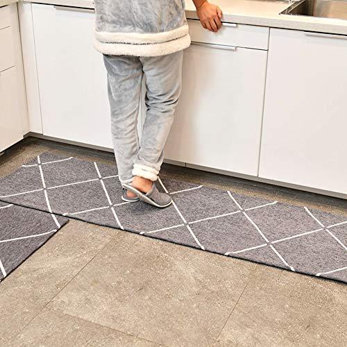 TIANQI rutschfeste Küchenteppich Wasseraufnahmematte Läufer Teppiche Set Klassische Matte (8mm Dicke) (Color : Gray, Size : 50X80cm+70X180cm) -