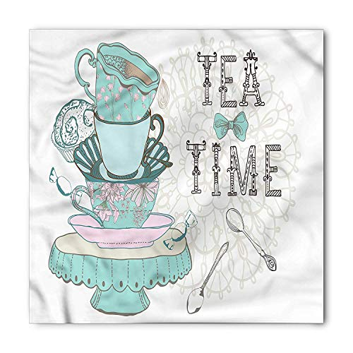 tgyew Vintage Bandana, Tea Time Colorful Cup Spoon, Unisex Head and Neck Tie,39.3 * 39.3inch Renaissance-baby Cup