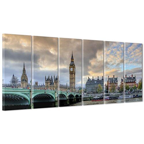 ConKrea Bild auf Leinwand Canvas-Gerahmt-fertig zum Aufhängen-London UK-westeminster-Bigben-England 190x70cm - Camden Esszimmer-möbel