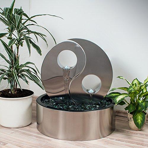 Köhko® Wassserwand Yin Yang mit LED-Beleuchtung Rund ca. Ø 48 cm Springbrunnen Wasserspiel mit Beckenverkleidung aus Edelstahl