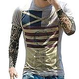 GreatestPAK T-Shirt Mode Persönlichkeit Männer Herren Casual Flag Schlank Kurzarm Top Bluse,S,Grau