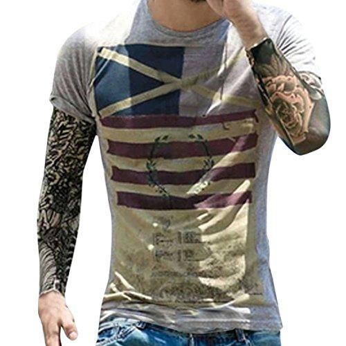 GreatestPAK T-Shirt Mode Persönlichkeit Männer Herren Casual Flag Schlank Kurzarm Top Bluse,XL,Grau