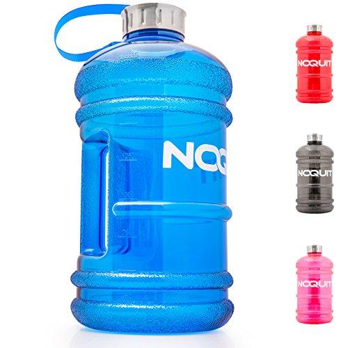 Water Jug - Trinkflasche - Sport-Wasserflasche - Trainingsflasche - Water Gallon - XXL Wasser-Kanister - Gym Bottle - 2.2 Liter - BPA & DEHP frei - perfekt für Crossfit, Fitness, Bodybuilding, MMA & Krafttraining von NOQUIT blau - Große Sport Jug