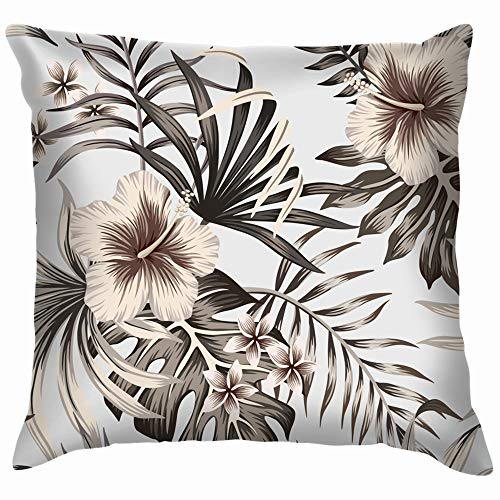 beautiful& Tropical Vintage Graphic Hibiscus Plumeria Floral Pillow Case Throw Pillow Cover Square Cushion Cover 18X18 Inch (Halloween Vintage Holiday Graphics)
