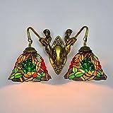 Tiffany-Art-Wandlampe, Euro-Art Buntglas-Traube-Dekorations-Kunst-Wand-Lampe, Retro- Persönlichkeits-Meerjungfrau-Entwu