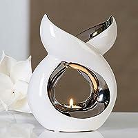 Casablanca - Duftlampe, Aromalampe, Aromabrenner - Lago - Keramik - Farbe: Weiß, Silber preisvergleich bei billige-tabletten.eu