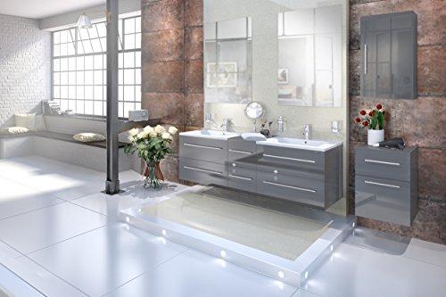 Bad Doppelwaschbecken (SAM® Design Badmöbel-Set Barcelona 5tlg, Hochglanz grau, 150 cm, mit Softclosefunktion, Badezimmer-Set bestehend aus 2 x Spiegel, 1 x Doppelwaschplatz, 1 x Hängeschrank, 1 x Unterschrank)