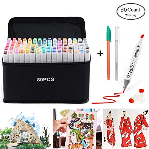 80 Farbige Marker Stifte Set, Graffiti Stifte Manga Sketch Pens, Drawing Sketch Studenten Kunstler Design Schule Drawing art Supplies(weißen+Kostenloses Geschenke Pens)