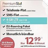 PremiumSIM LTE 3000 [SIM, Micro-SIM und Nano-SIM] monatlich kündbar (4 GB LTE-Internet mit max 50 Mbit/s inkl. Datenautomatik, Telefonie-Flat und SMS-Flat. Innerhalb eines EU-Landes und nach Deutschland: Telefonie-Flat und 1 GB Internet, 12,99 Euro/Monat)