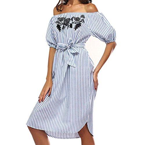 Kleider Damen Dasongff Damen Sommerkleider Off Schulter Kleid Kurzarm Minikleid Slash Neck Striped Casual Dress Abendkleid Partykleid Cocktailkleid Strandkleid Tunika Kleid (M, Blau) (Striped Top Split-neck)