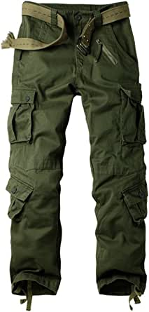 OCHENTA Men's Casual Military Army Camo Combat Trousers,Wild Cargo Pants with 8 Pockets (Size 29-44)
