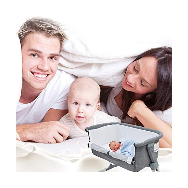 Bedside Crib Grey 5 Gear Mode 87 X 48 X 59cm Alloy Steel for 0-12 Months Baby WZX Unzip the side panel and connect fastening straps to transform from a crib to a bedside crib allowing you to keep close to your baby at night! Height adjustable fame to sit comfortably along any bedframe and a lightweight design makes it perfect for use in almost any room in your home. The ease of attachment and assembly, plus the removable and washable lining make life easy, making the bedside crib the perfect addition to any nursery. 6