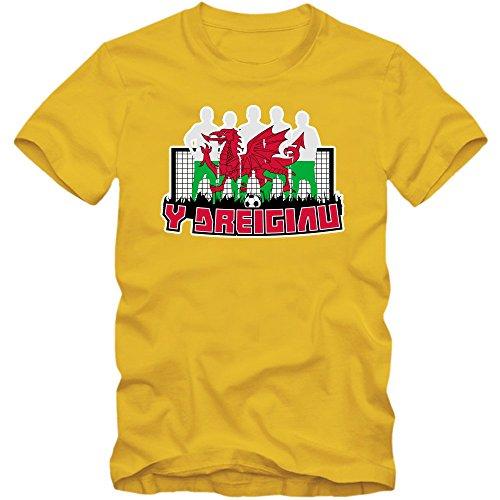 Wales EM 2016 #7 T-Shirt   Fußball   Herren   Trikot   Y Dreigiau   Nationalmannschaft © Shirt Happenz Gelb (Gold L190)