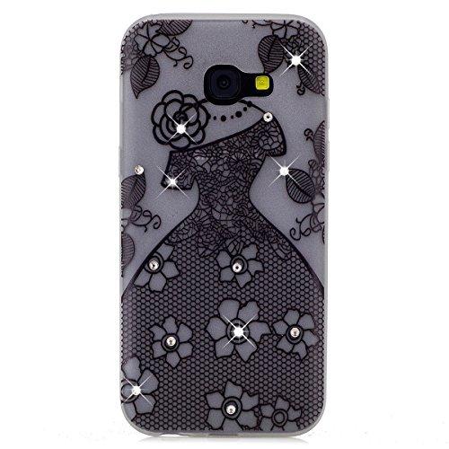 Custodia Galaxy A3 2017 - Cover per Samsung Galaxy A3 2017 - ISAKEN Fashion Agganciabile Luminosa Custodia con LED Lampeggiante PU Pelle Portafoglio Tinta Unita Cover Caso per Samsung A3 2017, Luxury  vestito da sposa