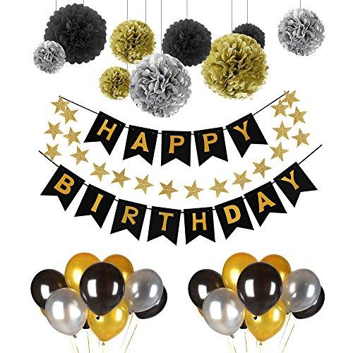 urtstag Dekoration Set,Pomisty Happy Birthday Dekoration 41 Stücks mit 9 Tissue Papier Pom Poms + 30 Große Geperlte Ballons + 1 HAPPY BIRTHDAY Banner für Alle Männer und Frauen ()