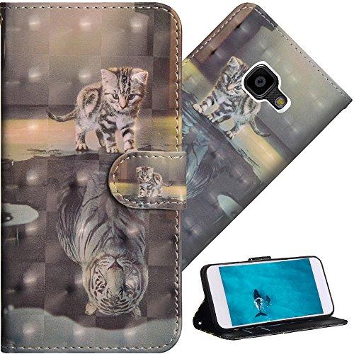 COTDINFOR Galaxy Xcover 4 Hülle für Geschenk Lederhülle 3D-Effekt Kartenfächer Schutzhülle Protective Handy Tasche Schale Standfunktion Etui für Samsung Xcover 4 Cat Tiger YX.