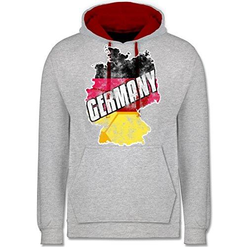 Fußball-WM 2018 - Russland - Germany Umriss Vintage - Kontrast Hoodie Grau Meliert/Rot