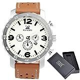 Uomo-Orologio da polso XL JSDDE orologi da Uomo in vera pelle con datario Traveler finto cronografo al quarzo Analog, colore marrone/bianco