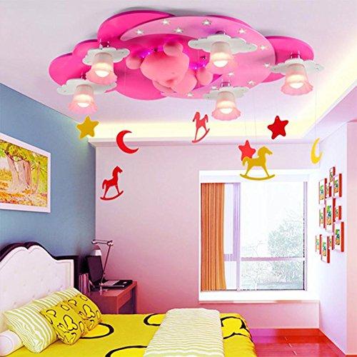 Bären-deckenleuchte (FGDJTYYJ Deckenleuchte LED Seeksung Moderne Kreative Cartoon Bär Beleuchtung Schlafzimmer Restaurant Kunst Kinderzimmer Lampe Glas E14 Durchmesser 33,07 in * Höhe 15,75 in [Energieklasse A +++])