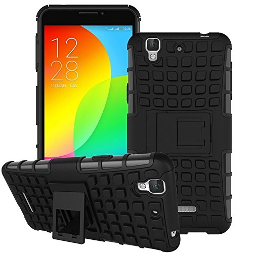 SDO Rugged Dual Layer Kickstand Hybrid Warrior Case Back Cover for Micromax YU Yureka Plus - Black with Clear Screen Guard