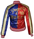 FWL Suicide Squad Harley Quinn Satin Bomber Jacket for Women (SMALL) Red & Blue