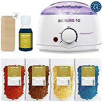Kit Depilacion Calentador de Cera Fundidor Parafina Depiladora Easy Wax + Espatulas de Madera + Aceite Esencial Waxing Kit Mealiss 10