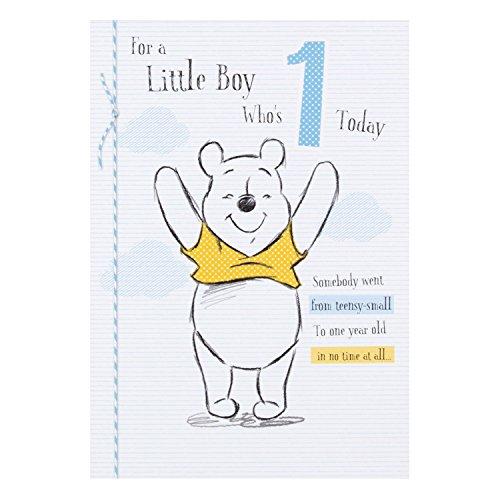First birthday card amazon hallmark disney winnie the pooh 1st birthday card little boy medium bookmarktalkfo Image collections