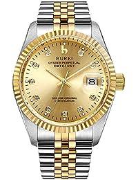 BUREI Reloj Elegante Casual de Hombres Caballeros de Cuerda automática Reloj mecánico con Cristal de Zafiro
