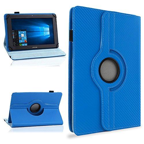 NAUC Tasche Hülle für ODYS Ieos Quad 10 Pro Schutzhülle Tablet Cover Case Bag Etui, Modellauswahl:Blau Carbon-Look 360°