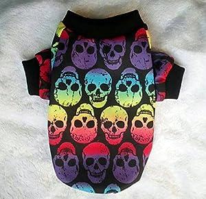 Jilesm pour animal domestique Chien Vêtements colorés Motif tête de mort fantaisie