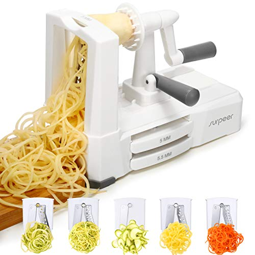 Affettaverdure a spirale di verdure,surpeer tagliaverdure spirale 5 lame acciaio inossidabile,best spaghetti maker per patate e zucchine,spaghetti di verdure,senza bpa,staccabile,2 anni di garanzia
