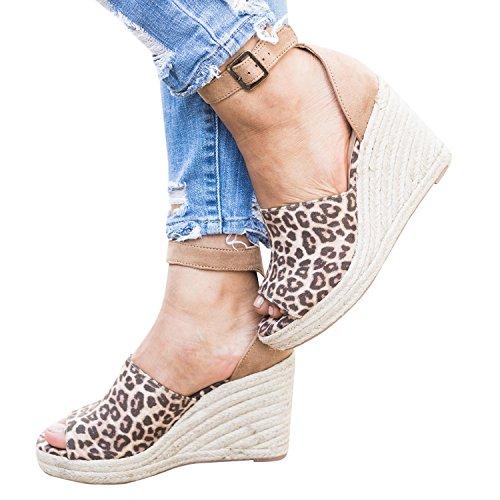 Gemijacka Damen Keilabsatz Schuhe High Heels Ankle Strap Open Peep Toe Sommer Sandalen (Multi Strap Ankle Schuhe)