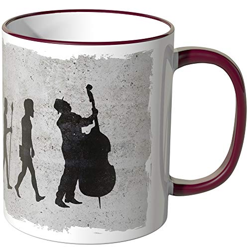 JUNIWORDS Tasse - Wähle Motiv & Farbe -Evolution Cello - Bordeaux