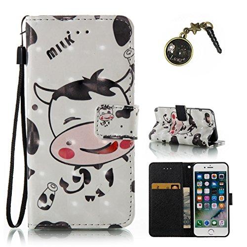 3D iPhone 7 Hülle, PU Leder Hülle für Ledertasche Schutzhülle Case[Stand Feature] Flip Case Cover Etui mit Karte Slots Hülle für Apple iPhone 7(4.7 Zoll)+Staubstecker (1) 7