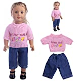 LHWY Sweaters Clothes Knitting Patterns Outfits Jeans Pants Set For 18 Inch Our Generation American Girl Doll