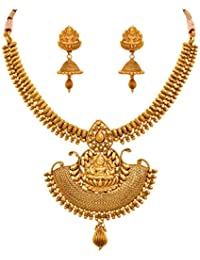 Jfl - Jewellery For Less Traditional Ethnic Temple Goddess Laxmi One Gram Gold Plated Necklace Set Jhumka Earring...