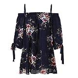 Xmiral Damen Tops Camis Plus Size Blumendruck Schulterfrei Lässige Bluse Halbe Hülse Verband Niedlichen Chiffon-Top(3XL,Navy)