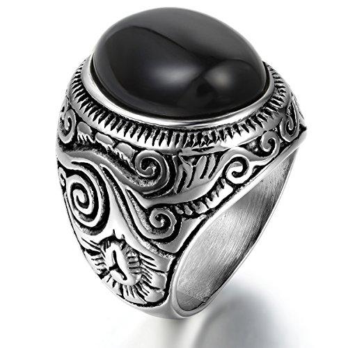 JewelryWe Gótico Anillo de Hombre Unisex, Anillo Anillo De Sello, Ace