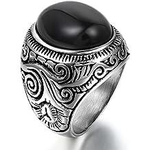 JewelryWe Anillo de Hombre Mujer Unisex, Anillo De Sello, Acero Inoxidable Vidrio Cristalino Negro