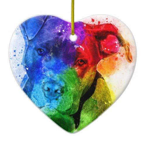 Tiukiu The Colors of Love Are A Pitbull Ceramic Ornament Keepsake Gift Idea