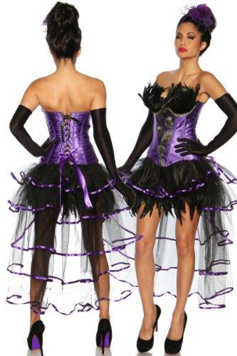 Burlesque-Corsage Corsage di pavone, con piuma e ricami %2Fsous-v êtement Corset Violet/Noir