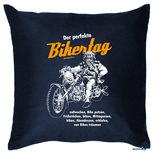Kissen Sofakissen mit Spruch - Der perfekte Bikertag - Geschenk und Wendekissen Motorrad Motorsport Fans (Der Perfekte Fahrer)