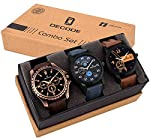 Decode watches presents an Exclusive combo of three watches for all generations. All watches are entirely different designed to go with all matching dresses. From Tan, Dark brown to jeans strap we have chosen all different to match your mood.. This c...