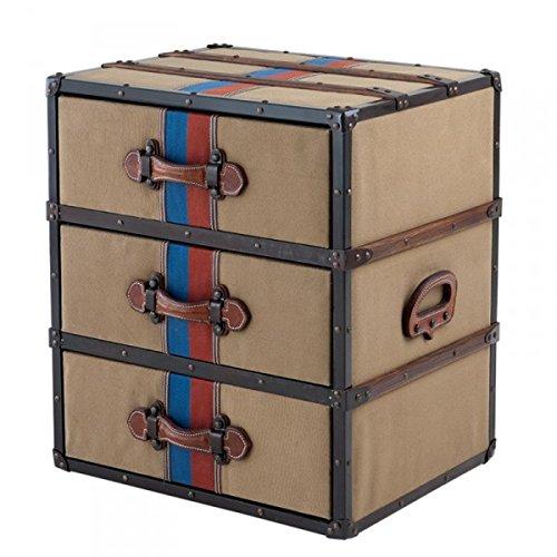 Casa Padrino Luxus Schubladen Schrank im Vintage Koffer Design Kahki Canvas/Leder - 3 Schubladen - Art Deco Barock Jugendstil Kofferschrank Nachtschrank