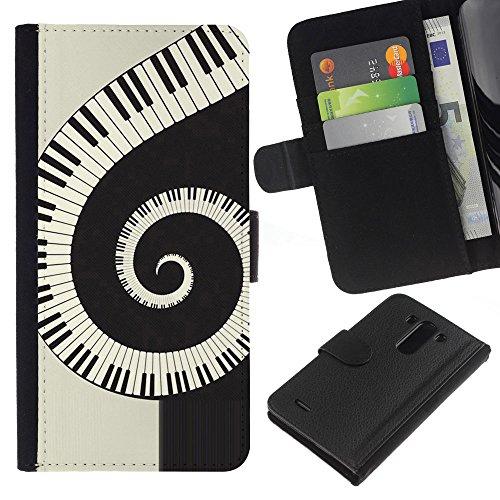Lead-Star (Music Spiral Piano) Colorful Portafoglio In Pelle Stampa Per Copertura Cassa Caso Case Pelle Per LG G3 / D855 / D850 / D851