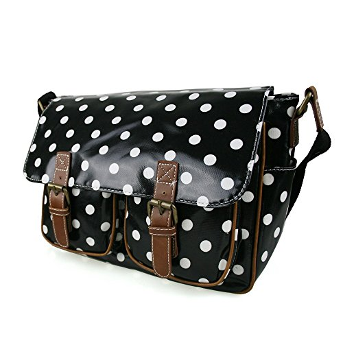 Damen-Handtasche, Messenger Bag, Wachstuch, Blumenprint, Punkte Black Oilcloth