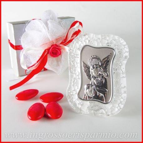 Bild dargestellt mit einem Engel Plakette versilbert und Bilderrahmen aus Glas Effekt Eis–Gastgeschenke Konfirmation männlich/weiblich 12 pz