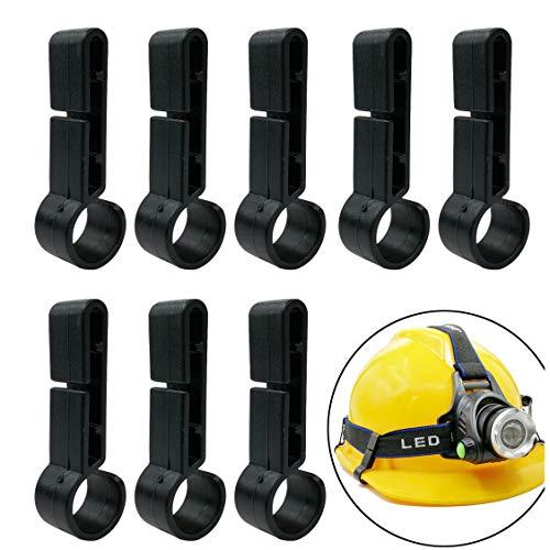 GuangTouL Schutzhelm kopflampe Clip, 8 Stück LED Stirnlampe Clip Haken für Handwerkerhelm, Led Kopflampe Clip und alle Geeignet Baustellenhelm und Kopflampe -