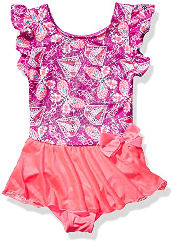Jojo Siwa By Danskin Mädchen Big Rainbow Bows Flutter Sleeve Dance Dress Funktionsunterwäsche, Diamond Butterfly Print Jojoba Pink/Studio Purple-91000, Groß -